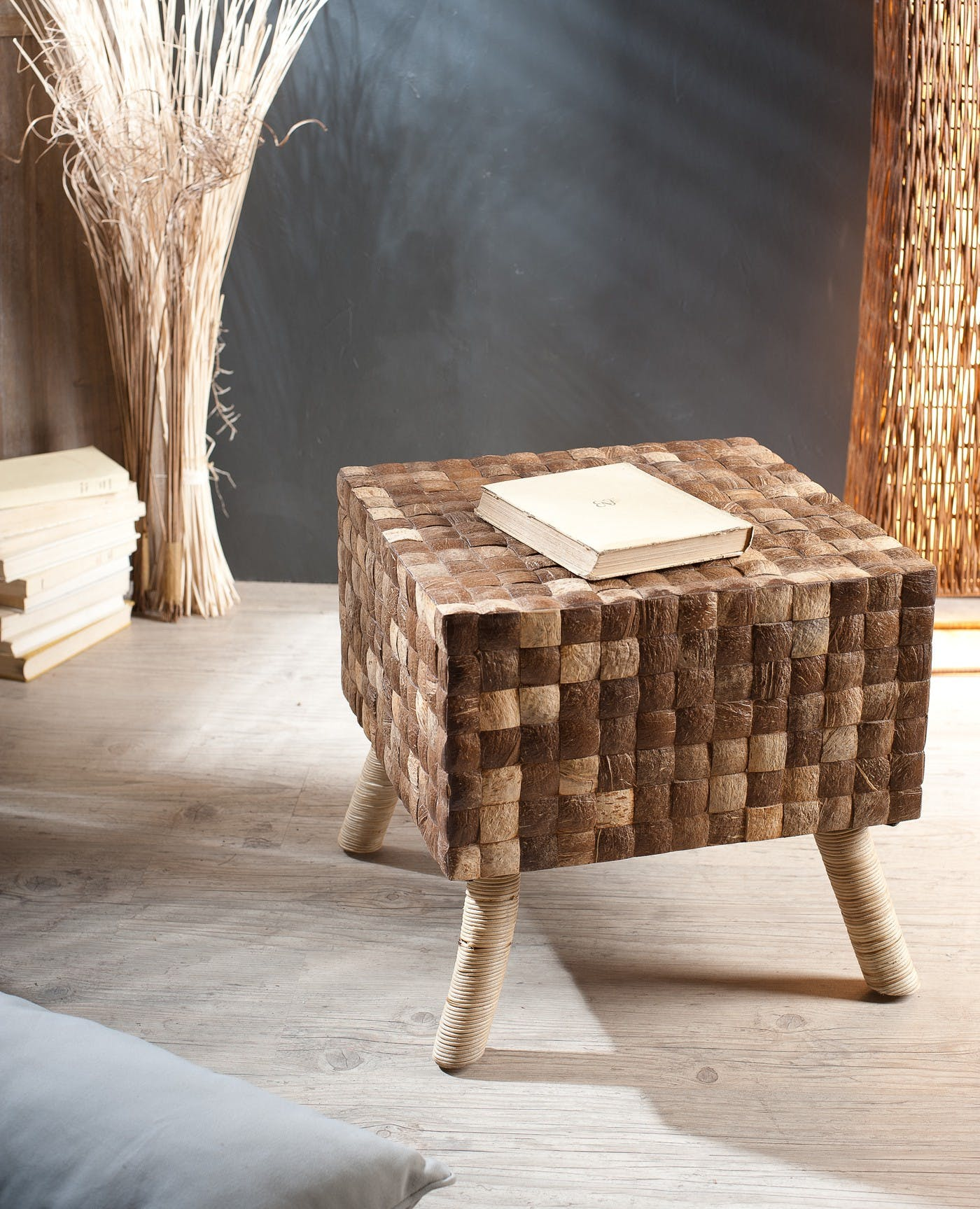 Tabouret COCO carré coconut café 40x40cm