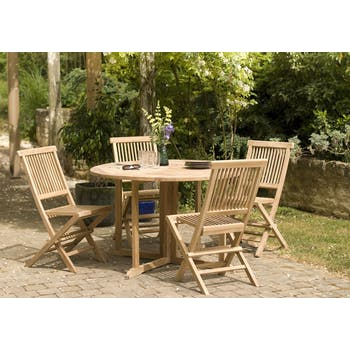 Salon de jardin en Teck table ronde 120cm 4 chaises SUMMER