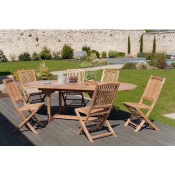 Salon de jardin Teck table ovale 180/240cm 6 chaises SUMMER