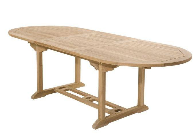 Table de jardin en Teck ovale extensible 180/240x100cm SUMMER