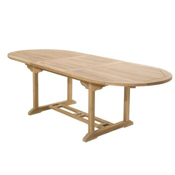 Table de jardin en Teck ovale extensible 180/240x100cm SUMMER