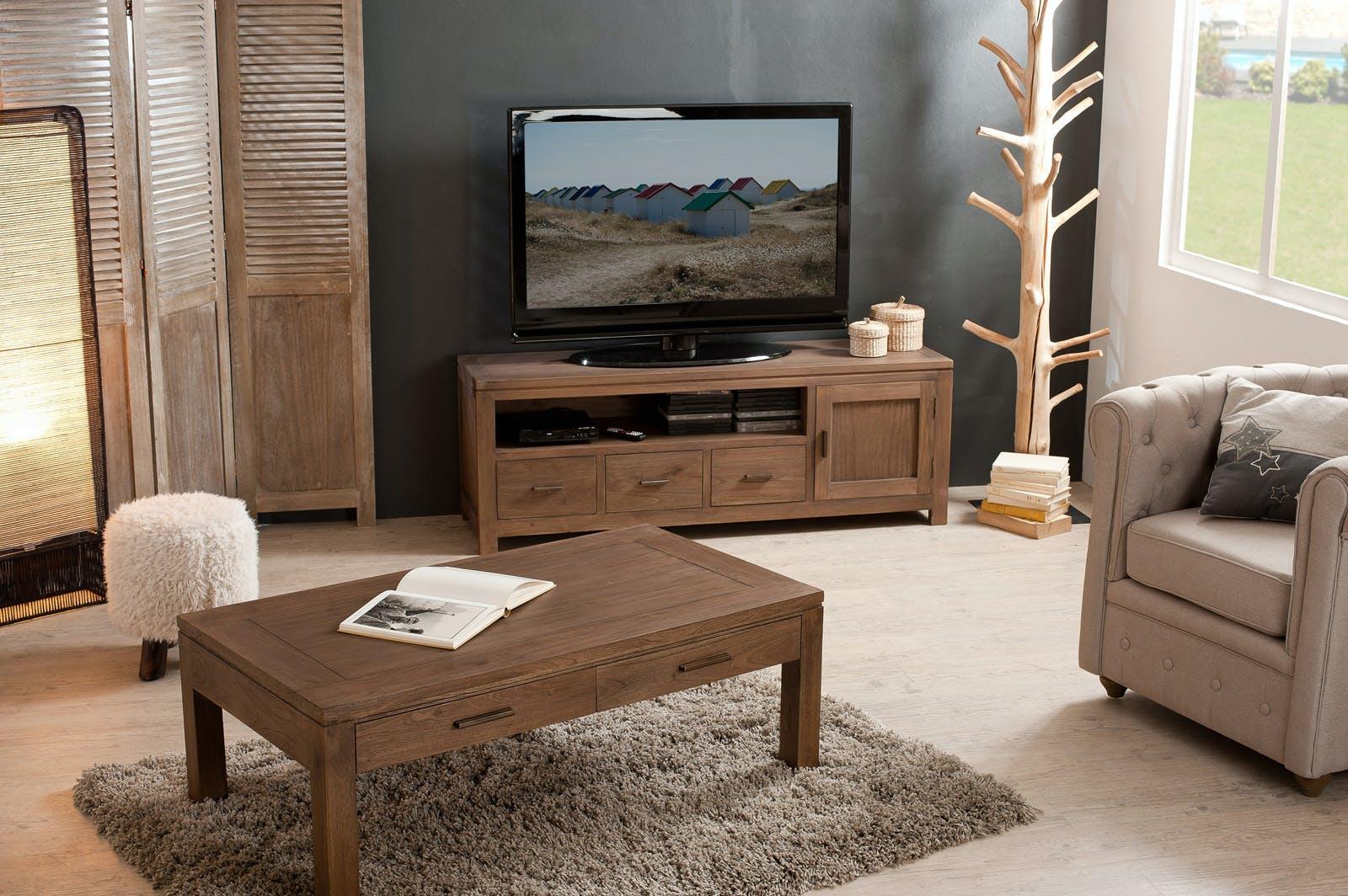 Meuble TV bois exotique 1 porte LOUNA