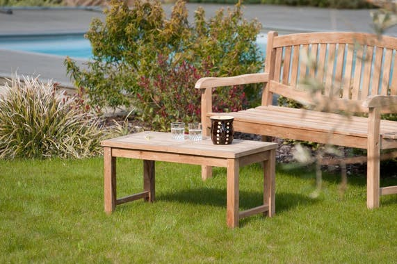 Table basse de jardin en Teck brut massif 90cm SUMMER