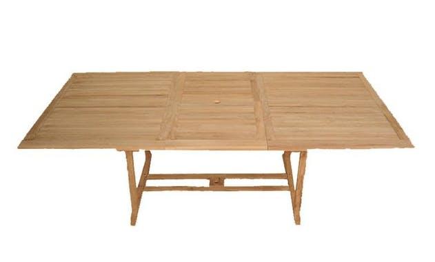 Table de jardin en Teck rectangle papillon 180/240cm SUMMER