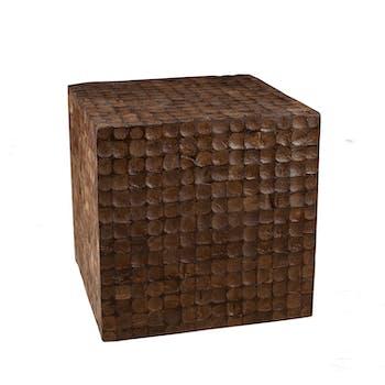 Pouf COCO cube café 42x42cm