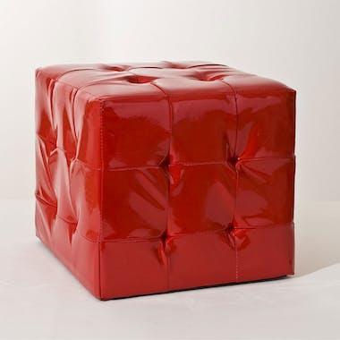 Pouf 35cm PU rouge BRITISH