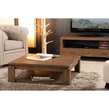 Table basse carrée bois exotique LOUNA