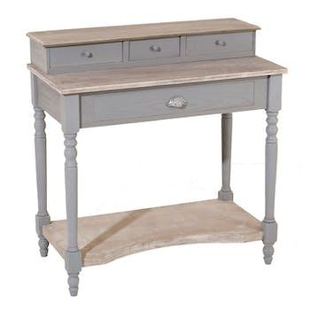 Bureau secrétaire bois gris bicolore 85cm CALIE