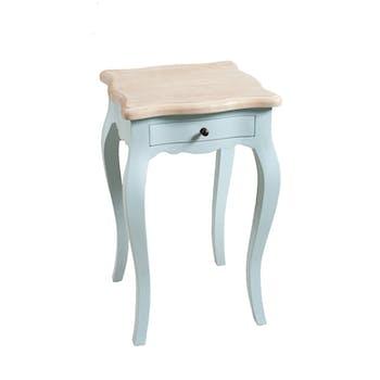 Table de chevet Baroque manguier bleu ciel 66cm ODYSSEE