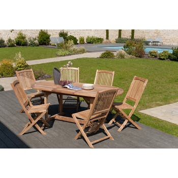 Salon de jardin Teck table ovale 150x90cm 6 chaises SUMMER
