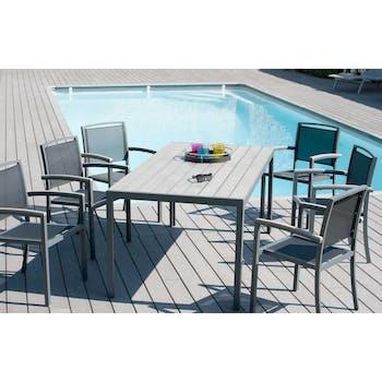 Salon de jardin en aluminium Table rectangulaire 180cm 6 fauteuils PALMYRE