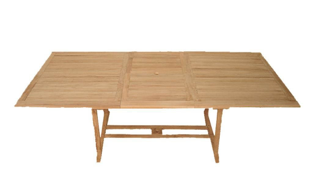 Table de jardin en teck brut rectangle extensible 200/300x120x76cm SUMMER