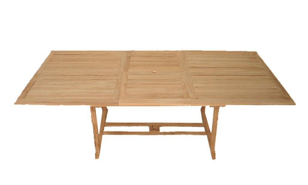 Table de jardin en teck brut rectangle extensible 200/300x120x76cm SUMMER