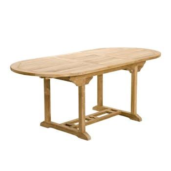 Table de jardin en teck brut ovale extensible 120/180x90x75cm SUMMER