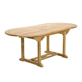 Table de jardin en teck brut ovale extensible 120/180x90x75cm SUMMER