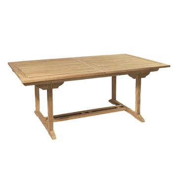 Table de jardin en teck brut rectangle extensible 120/180x90x75cm SUMMER