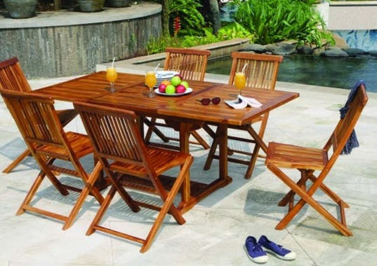 Table de jardin en teck huilé rectangle extensible 120/180x90x75 MACAO