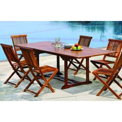 Table de jardin en teck huilé rectangle extensible 180/240x100x75 MACAO