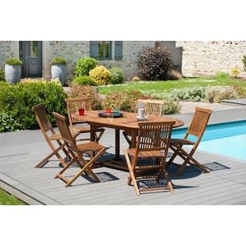 Table de jardin en teck huilé ovale extensible 120/180x90x75 MACAO