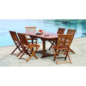 Salon de jardin en teck huilé Table rectangulaire 120/180cm 6 chaises MACAO