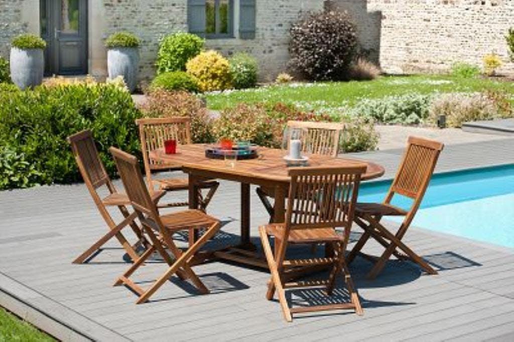 Salon de jardin en teck huilé Table ovale 120/180cm 6 chaises MACAO