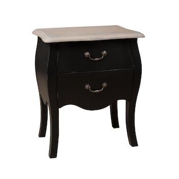 Table de chevet 2 tiroirs Noir Baroque Manguier 50x33x61cm ODYSSÉE