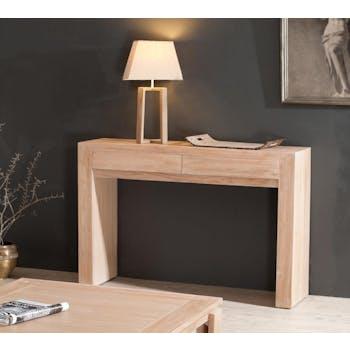 Console 2 tiroirs moderne teck blanchi 120x36x81 DIANE
