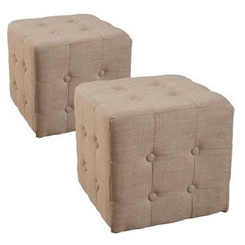 Poufs carrés capitonnés (x2) Tissu Ficelle 37x37x36 PASTEL