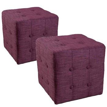 Poufs carrés capitonnés (x2) Tissu Prune 37x37x36 PASTEL