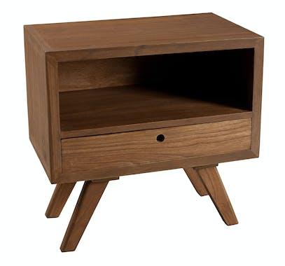 Table de chevet tiroir bois exotique FANNY