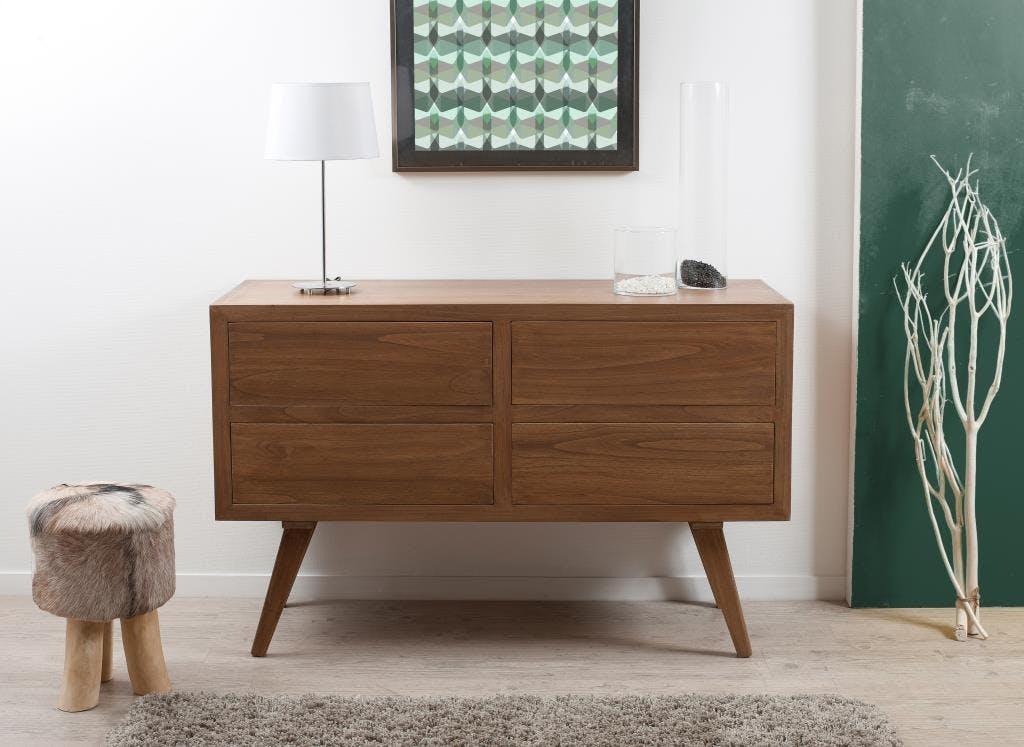 Commode 4 tiroirs bois cannelle130x50x84 FANNY