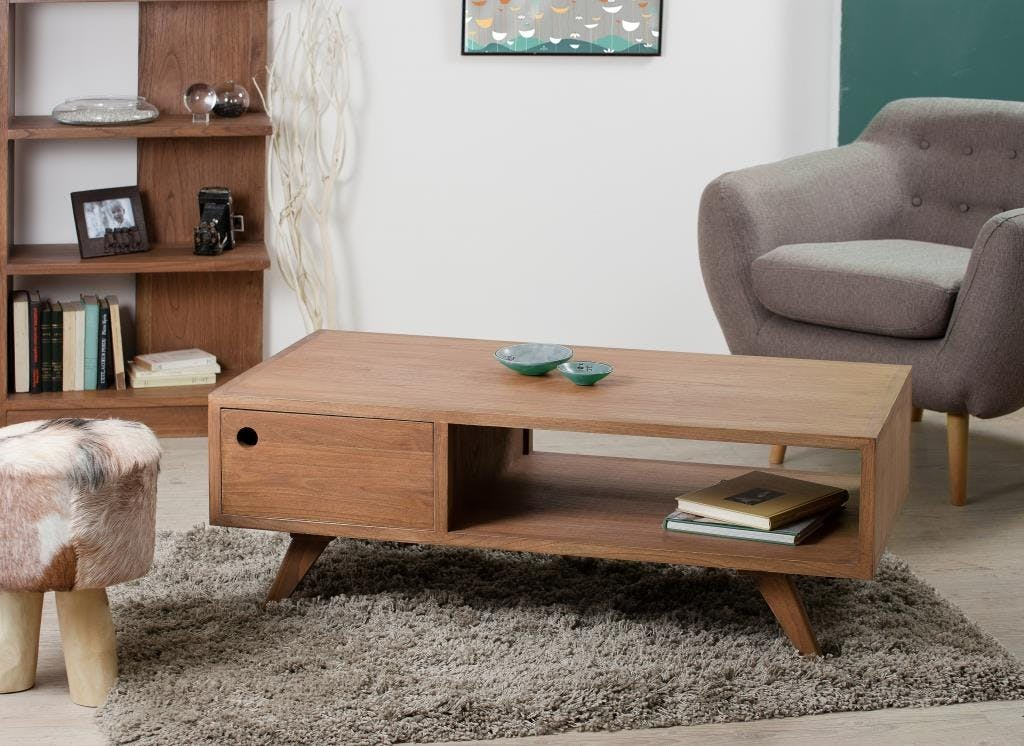 Table basse avec tiroir bois 120x60x45 FANNY