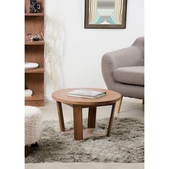 Petite table basse ronde bois cannelle 65x65x40 FANNY