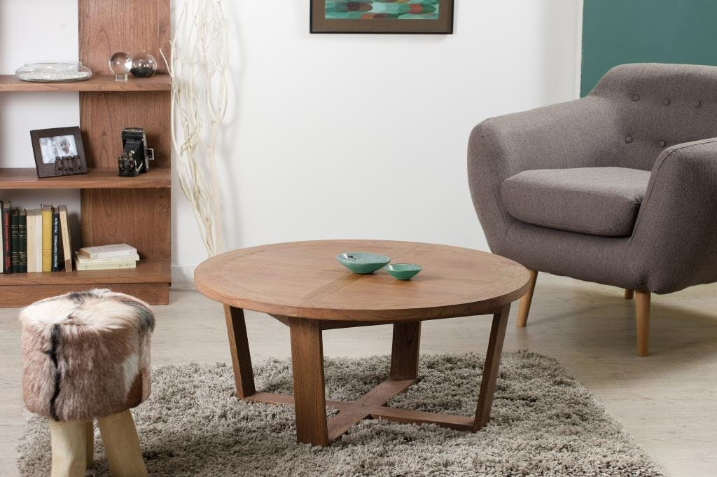 Table basse ronde cannelle bois 90x90x40 FANNY