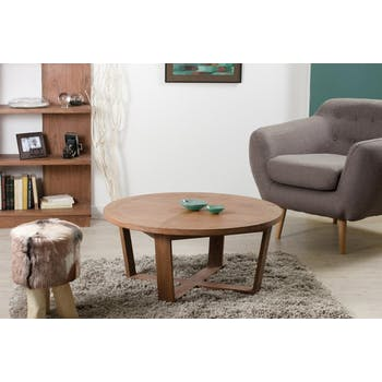 Table basse ronde cannelle bois 90x90x40 FANNY