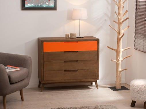 Commode Vintage 4 tiroirs cannelle et orange Bois 100x40x89 LUCIEN