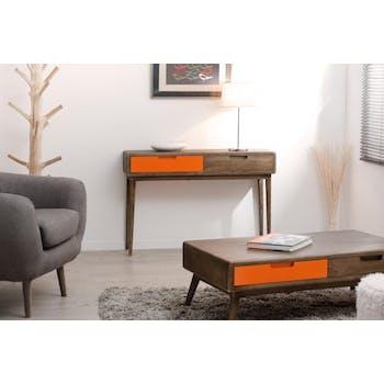 Console Vintage 2 tiroirs orange Bois 110x30x76 LUCIEN