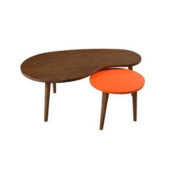 Tables gigognes cannelle Orange Vintage Bois 100cm LUCIEN
