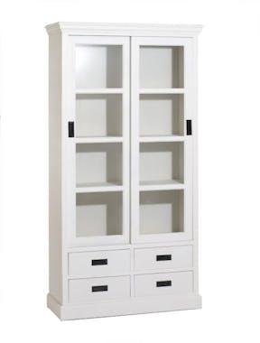 Vaisselier blanc 2 portes coulissantes pin 100cm CONSTANCE