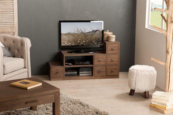 Grand meuble TV bois exotique LOUNA