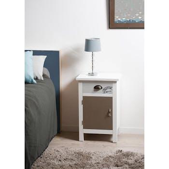 Table de chevet tiroir Blanc Gris et Taupe bois 40x32x61 MILO