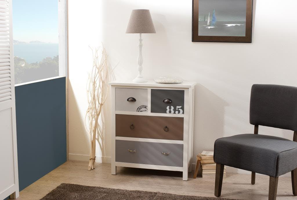Commode 4 tiroirs Blanc Gris et Taupe bois 72cm MILO