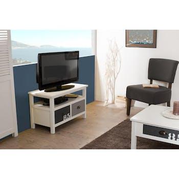 Meuble TV 2 tiroirs Blanc Gris et Taupe bois 80cm MILO
