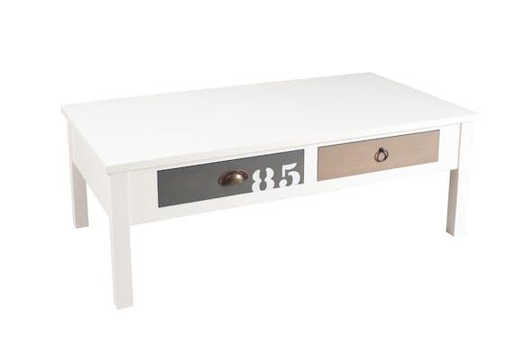 Table basse 4 tiroirs Blanc Gris et Taupe 110cm MILO