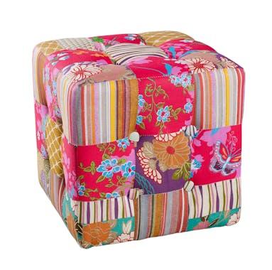 Pouf carré patchwork tissu BOHEME 35X35X35cm