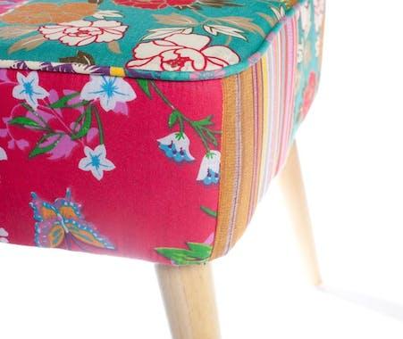 Tabouret bas carré patchwork tissu BOHEME 42X41X40cm