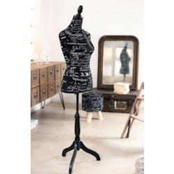 Mannequin couture tissu noir texte VALENTINE  40x36x165cm