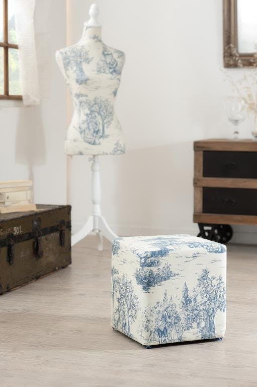 Pouf carré tissu jouy bleu VALENTINE 31X31X33cm