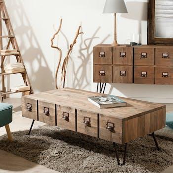 Table basse 1 tiroir pin recyclé 120,5x60,3x43,5cm ATELIER