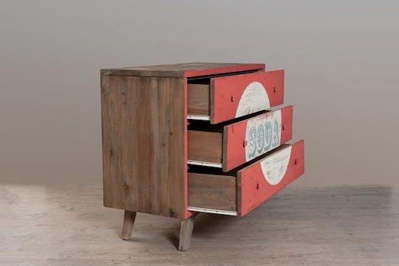 Commode 3 tiroirs pin recyclé rouge 100x45x85cm ATELIER